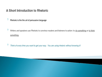 AP Language and Composition: Intro to Rhetoric slides