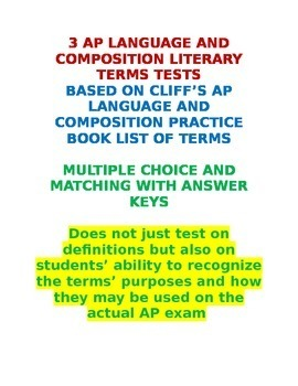 AP Language and Composition 3 Literary Terms Tests