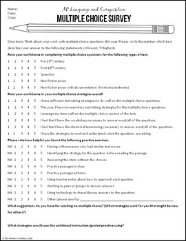 AP Language and Composition Multiple Choice Survey & Data Tally Sheet