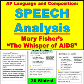"""AP Language and Composition, Speech Analysis, Mary Fisher's """"Whisper of AIDS"""""""