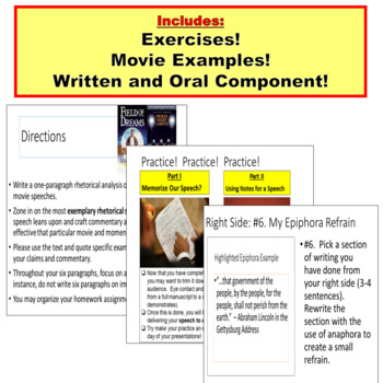AP Language and Composition, Speech Elements for Analysis and Oral Presentation