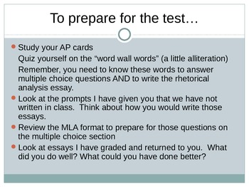 AP Language and Composition Test Review PowerPoint