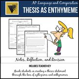 Thesis as Enthymeme Student Pack for AP Language and Composition