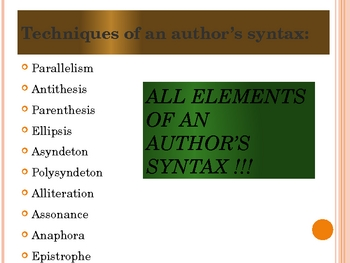 AP Language/Literature SYNTAX notes and guided practice passages