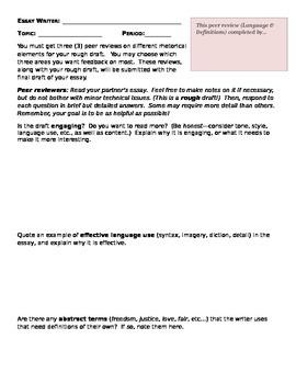 AP Language/Research Peer Review Sheets