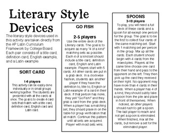 AP Latin Literary Style Devices Sort Card, Go Fish, Spoons Activity