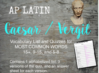 AP Latin Top Vocabulary Lists and Assessments
