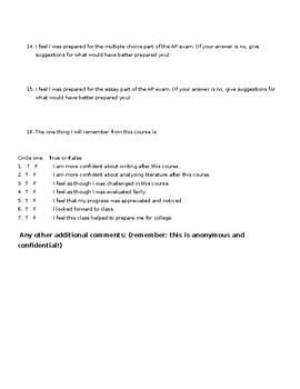 AP Lit Course Evaluation