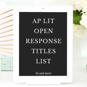 AP Lit Open Response Titles List