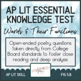 AP Lit Poetry Skill Test - Words and Their Functions