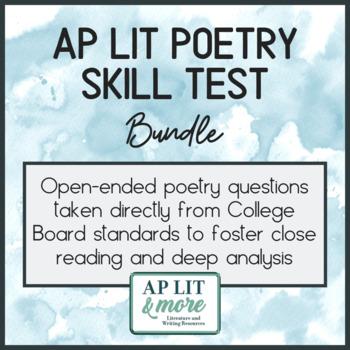 AP Lit Poetry Skills Test Bundle