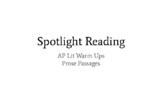 AP Lit Spotlight Readings - Prose Passages