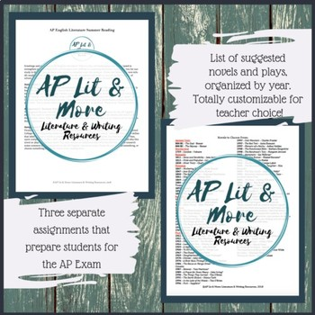 AP Lit Summer Reading Assignment - Three Meaningful & Practical Assignments