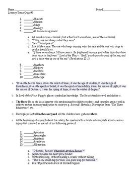 AP Literary Terms Quiz - 2 Quizzes