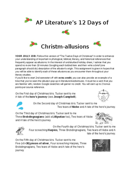AP Literature 12 Days of Christm-allusions