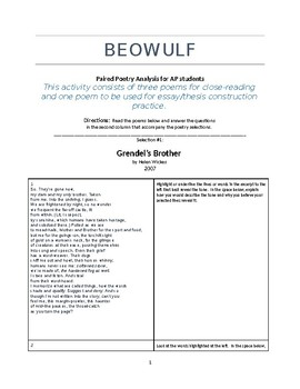AP Literature Beowulf Paired Poems - A close reading activity