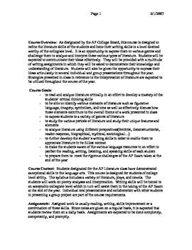 AP Literature Course Syllabus