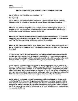 AP Literature Genesis and Matthew Test Bible Test