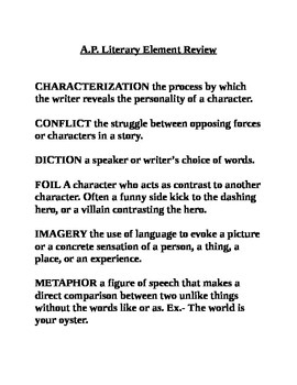 A.P. Literature Key Terms