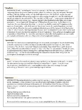AP Literature Glossary Terms Reference Packet