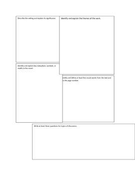 AP Literature Major Works Data Sheet