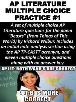 AP Literature Multiple Choice Practice #1