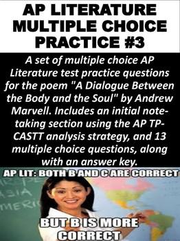 AP Literature Multiple Choice Question Practice #3