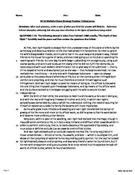 AP™ English Multiple Choice Reading Strategy: Prose Literary Analysis - Tolstoy