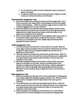 AP Literature: Novel Assignment Focusing on Plot Elements