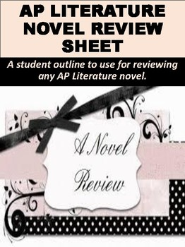 FREE AP Literature Novel Review Sheet