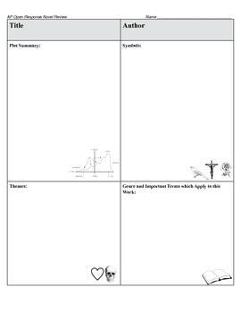 AP Literature Open-Ended Question Novel Review Sheet