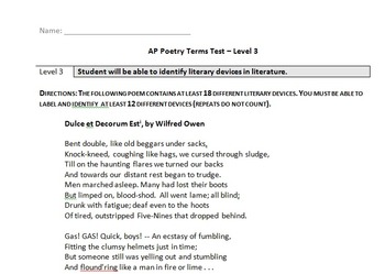 AP Literature Poetry Terms Test