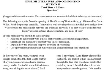 Ap Literature  Composition Prose Prompt  The Picture Of Dorian Gray  High School Entrance Essay Examples also Analysis Essay Thesis How To Make A Thesis Statement For An Essay