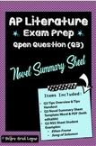 AP Literature Open Free Response Question Exam Prep  Novel
