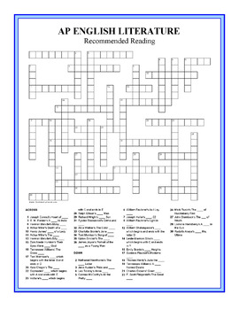 AP Literature Recommended Readings Crossword Puzzle