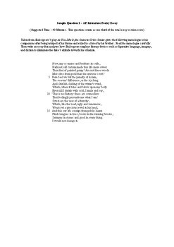 AP Literature Shakespeare Poetry Essays (4 Prompts + More!)