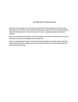 AP Literature Sorting Terms and Examples