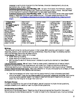 AP Literature Student Agreement, Course Outline, Homework Calendar
