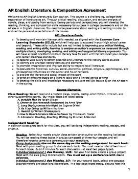 AP Literature Student Agreement, Course Outline, Homework