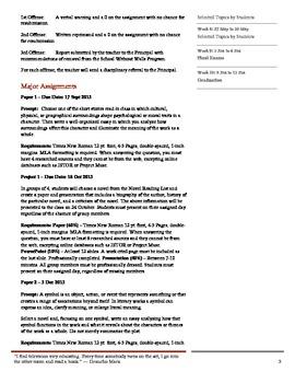 AP Literature Syllabus and Pacing Guide