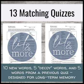Literary Vocabulary Semester Long Quiz Unit - AP English Literature