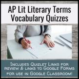 Literary Vocabulary Semester Long Quiz Unit - AP English L