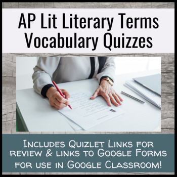 AP Lit Literary Terms Quiz Unit | Google Classroom Ready