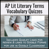 Literary Vocabulary Semester Long Quiz Unit - AP Literature