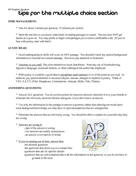 AP Literature Tips for Multiple Choice Questions