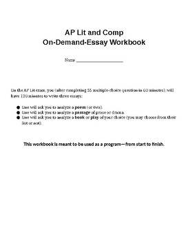 AP Literature and Composition, Weeks-Long Essay Writing Training Program