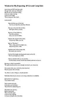 AP Literature and Composition Goodbye Poem