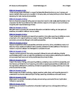 AP Literature and Composition Mythology Unit