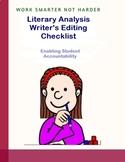 Literary Analysis:  Writer's Editing Checklist