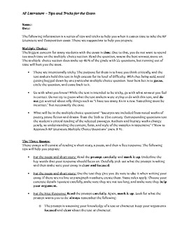 AP Literature and Composition Test Tips and Tricks